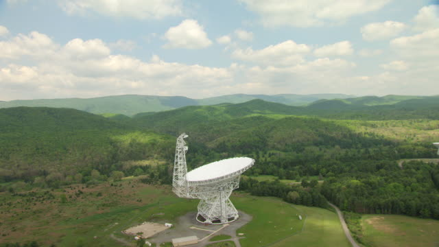 MS DS AERIAL View over Robert C Byrd Green Bank telescope in Pocahontas County / West Virginia, United States