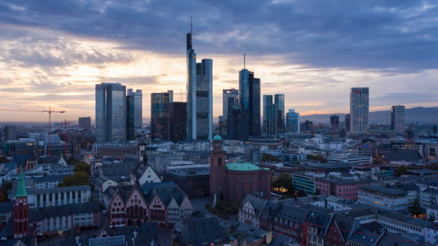 view over romer square towards the skyline of frankfurt, frankfurt am main, hesse, germany, europe - germany stock videos & royalty-free footage