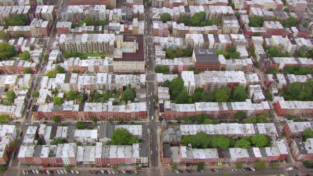 WS AERIAL DS View over rooftops in area of Fran Sinatra's teenage home / Hoboken, New Jersey, United States