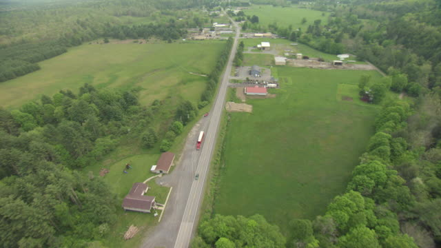 ws aerial view over route 92 over street in pocahontas county / green bank, west virginia, united states - bank stock-videos und b-roll-filmmaterial