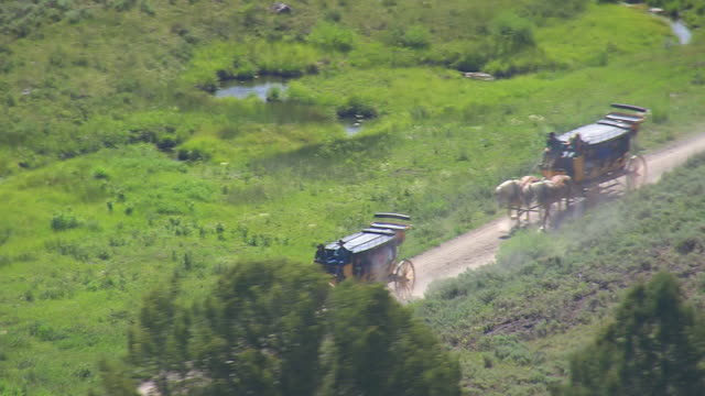 vídeos de stock, filmes e b-roll de ws aerial view over running horse cart on dirt road / wyoming, united states - animal de trabalho