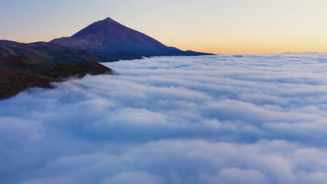 WS T/L View over Sea of clouds on mountains, National Park / Teide, Tenerife Island, Canary Islands, Spain