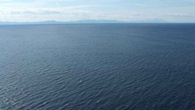WS AERIAL TD View over sea surface / Isle or island of Mull, Argyll and Bute, Scotland