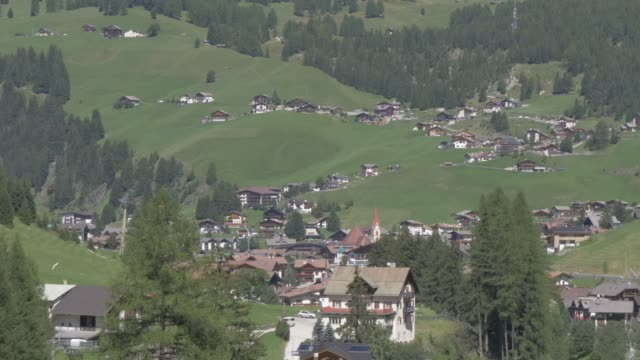 View over Selva di Val Gardena / Wolkenstein in Groden town, Province of Bolzano, Dolomites, Italy, Europe