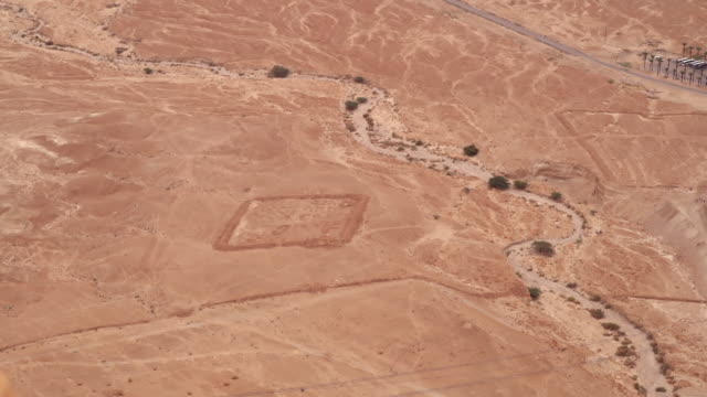 ws ha view over siege camp at masada in negev desert / israel - biblical event stock videos & royalty-free footage