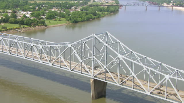 MS ZO AERIAL View over Silver Memorial Bridge with Ohio River / Point Pleasant, West Virginia, United States