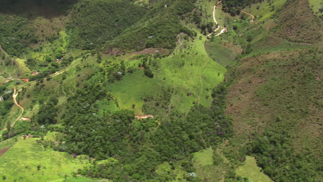 ms aerial view over small hills / minas gerais, brazil - minas stock videos and b-roll footage