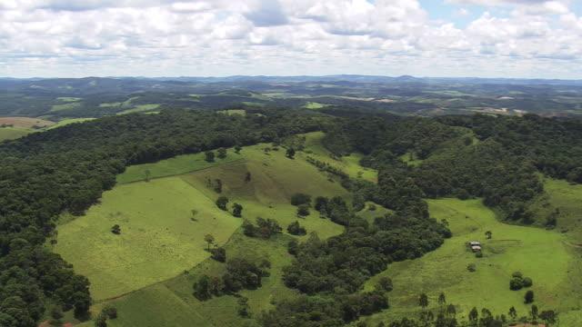 WS AERIAL DS View over small hills / Minas, Gerais Brazil