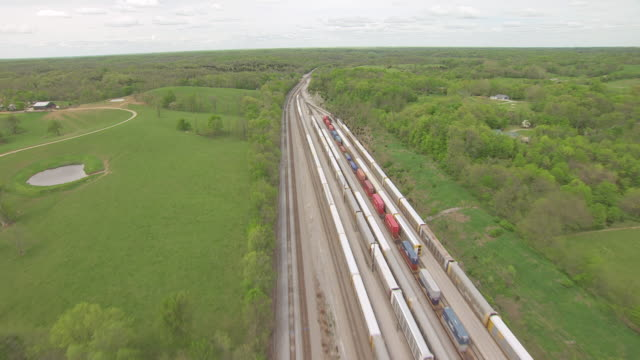 ws aerial view over stationary toyota motor train / georgetown, kentucky, united states - kentucky stock videos & royalty-free footage
