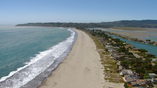 ws aerial view over stinson beach / marin county, california, united states - marin stock videos & royalty-free footage