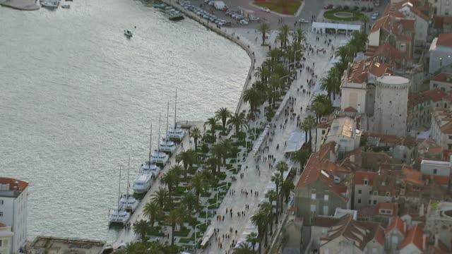 MS AERIAL PAN TU View over streets and harbor in largest coastal city / Split, Split Dalmatia County, Croatia