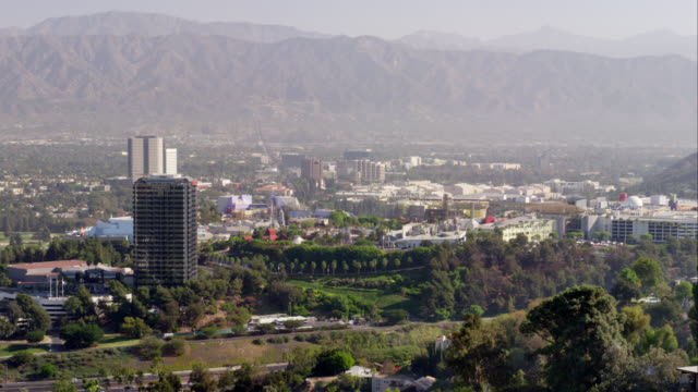 ha ls view over studio city and the paramount studios in the san fernando valley area of los angeles, red r3d 4k, 4k, 4kmstr - studio city stock videos & royalty-free footage