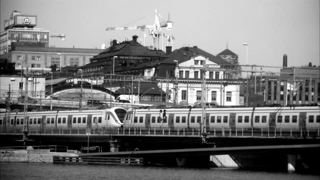 view over the central station in stockholm, sweden. - svartvit bild bildbanksvideor och videomaterial från bakom kulisserna