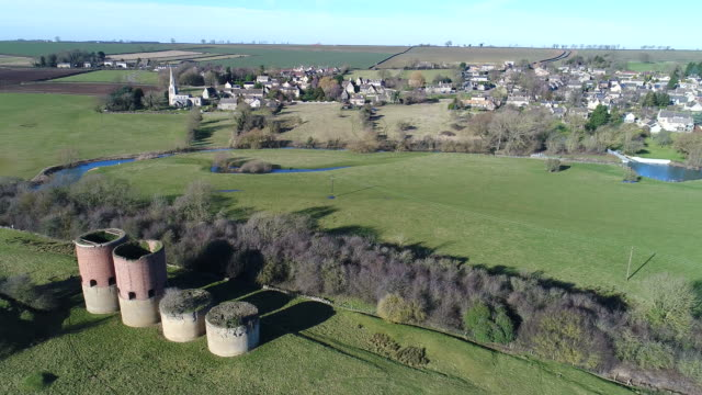 View over the disused brick kilns and Barrowden village,
