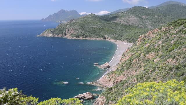 ws view over the gulf of porto, unesco world heritage site / gulf of porto, corsica, france - ピアナ点の映像素材/bロール