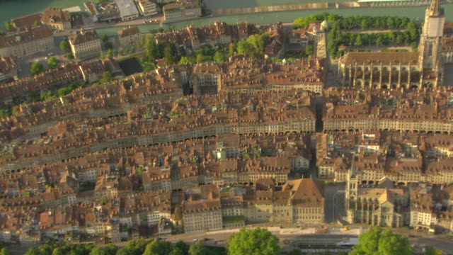 WS AERIAL View over the historical center of Bern (1) / Bern, Switzerland