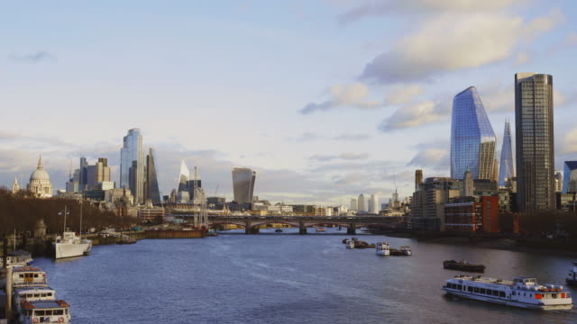 view over the river thames from waterloo bridge of  london skyline - river thames stock videos & royalty-free footage