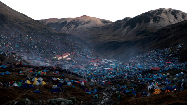 a view over the site during the annual qoyllur rit'i festival on may 28 2018 in ocongate peru every year since 1783 in the sinakara valley at the... - religious celebration stock videos & royalty-free footage