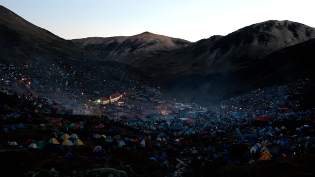 view over the site during the annual qoyllur rit'i festival on may 28, 2018 in ocongate, peru. every year, since 1783 in the sinakara valley at the... - religious celebration stock videos & royalty-free footage