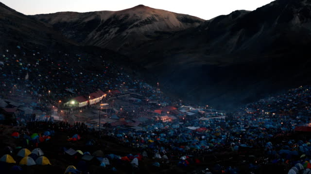 A view over the site during the annual Qoyllur Rit'i festival on May 28 2018 in Ocongate Peru Every year since 1783 in the Sinakara Valley at the...
