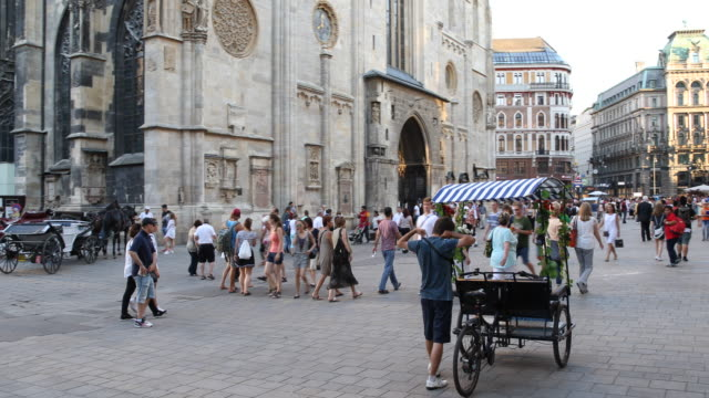 View over the Stephansplatz with St Stephen's Cathedral Stephansdom in Vienna in Austria a horsedrawn carriage and a rickshaw can be seen