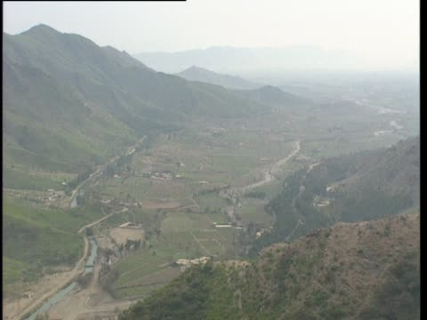view over the swat valley in pakistan. - pakistan video stock e b–roll