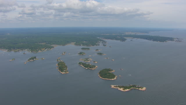 WS AERIAL POV View over Thimble Islands / Branford, Connecticut, United States
