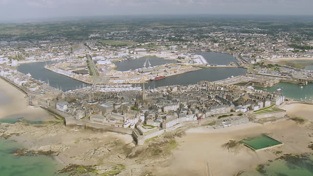 ws aerial view over town saint malo and dinard / brittany, channel isles - france stock videos & royalty-free footage