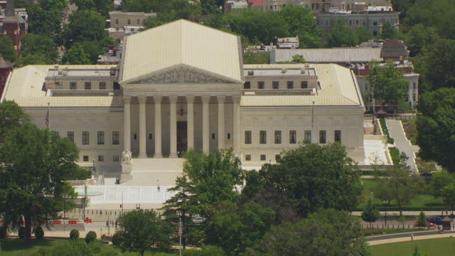ws aerial pov zo view over us supreme court and us capitol building / washington dc, united states - supreme court stock videos & royalty-free footage