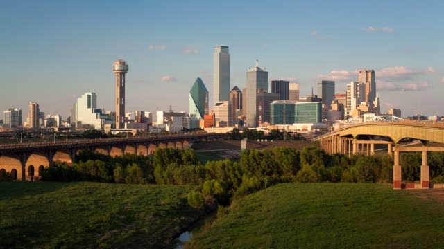 View over Viaduct with the Reunion Tower on the left, Dallas City Skyline, Dallas, Texas, USA