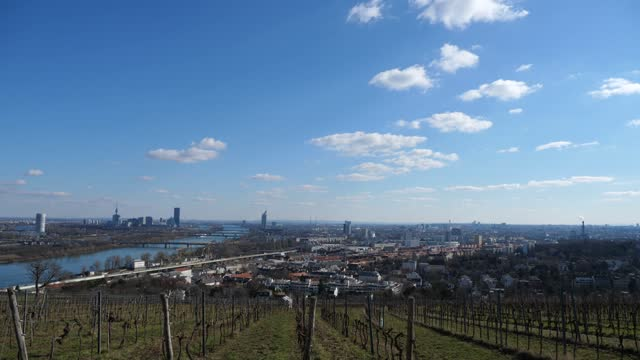 view over vienna / austria with danube river in early spring and blue sky - traditionally austrian stock videos & royalty-free footage