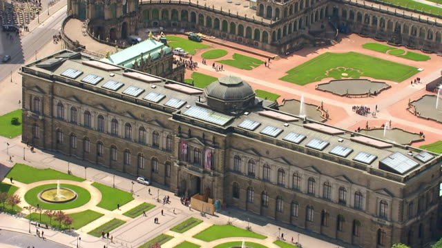 ms aerial view over zwinger palace / dresden, saxony, germany - dresden germany stock videos & royalty-free footage