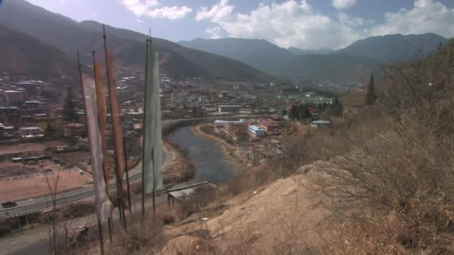 view overlooking thimpu, the capital of bhutan. - thimphu stock videos & royalty-free footage