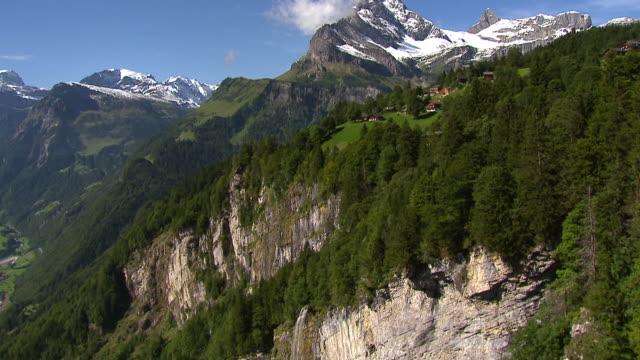 WS AERIAL View part of village Braunwald with Ortstock and Glarus Alps / Braunwald, Glarus, Switzerland
