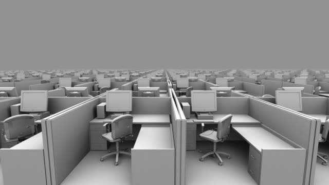 B/W CGI DOLLY view past infinite number of identical gray office cubicles