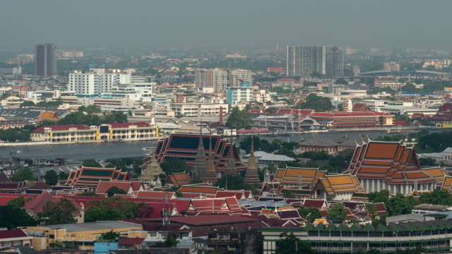 view point can see the grand palace on the chao phraya river in bangkok. - bangkok stock videos & royalty-free footage
