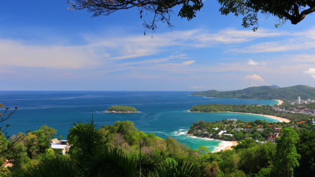 view point of karon beach, kata beach and kata noi in phuket, thailand. beautiful turquoise sea and blue sky from high view point. - indian ocean stock videos & royalty-free footage