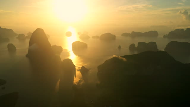 view point sunrise  aerial view of phang nga bay  high mountains - southeast asia stock videos & royalty-free footage