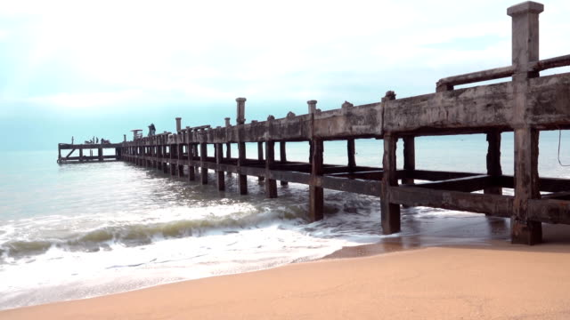 view sea of under jetty old bridge - jetty stock videos & royalty-free footage