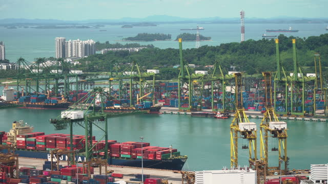 4k view singapore terminal port, logistics and transportation and cargo ships - noelia ramon stock videos & royalty-free footage