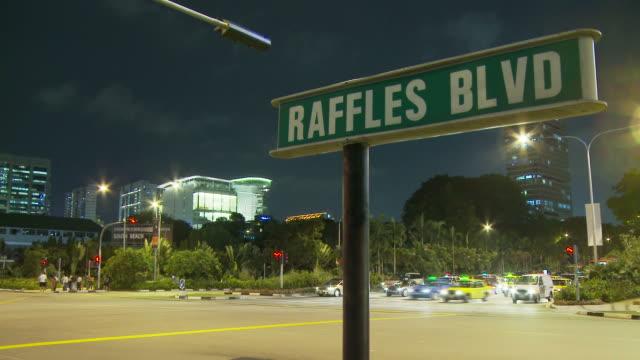 view the raffles boulevard, singapore - raffles city stock videos & royalty-free footage