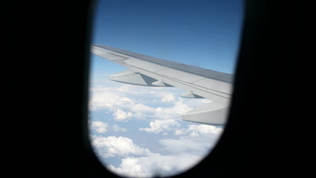 View through an airplane window