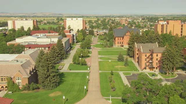 vídeos de stock, filmes e b-roll de ws aerial view through middle quadrangle of montana state university / bozeman, montana, united states - bozeman