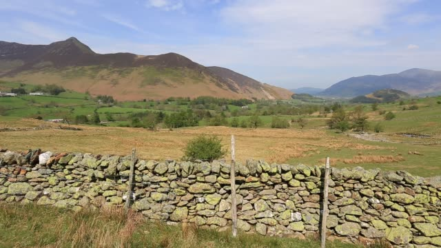 view through the newlands valley, lake district national park, cumbria, england. - stone wall stock videos & royalty-free footage