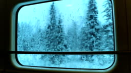 View through the Train Window at the Winter Woods. Seamless Loop