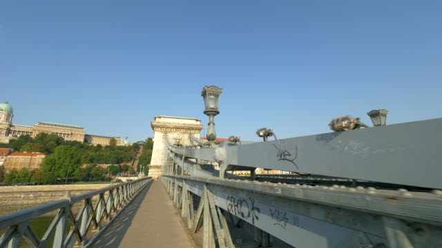 view to chain bridge, budapest - chain bridge suspension bridge stock videos & royalty-free footage