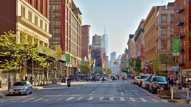 vidéos et rushes de vue sur manhattan financial district. midtown. new york - manhattan