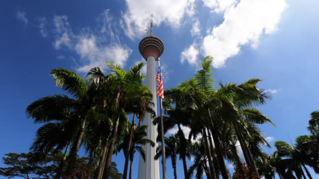 view to menara kl tower, kuala lumpur, malaysia - menara kuala lumpur tower stock videos & royalty-free footage