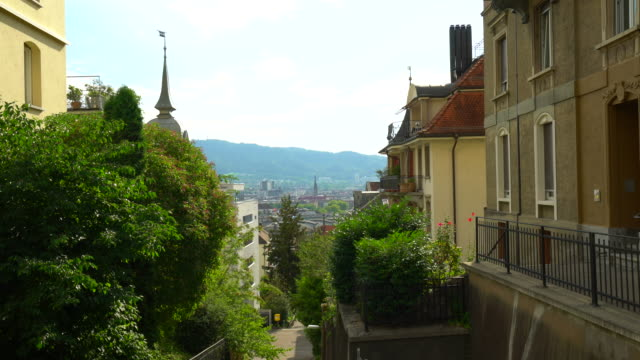 view to old town zurich - treppe stock videos and b-roll footage