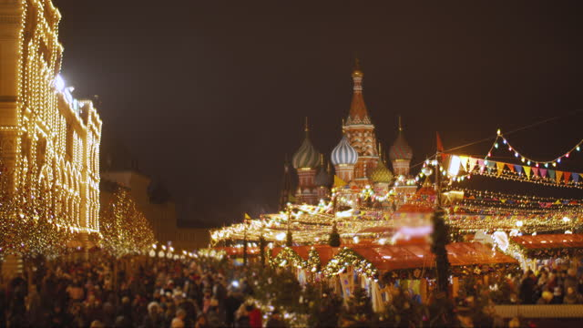 view to st. basil cathedral, red square, kremlin and gum at christmas and new year in moscow, russia - red square stock videos & royalty-free footage